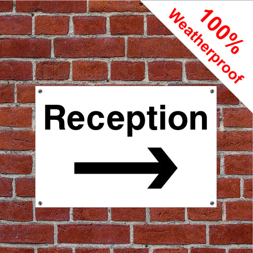 Reception with right arrow hotel safety sign or sticker