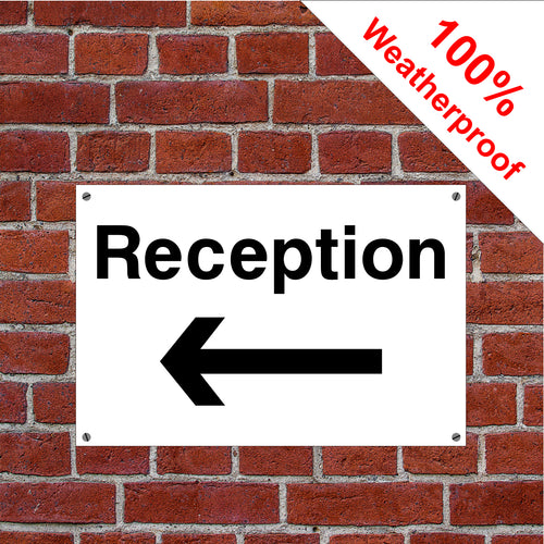 Reception with left arrow hotel safety sign or sticker