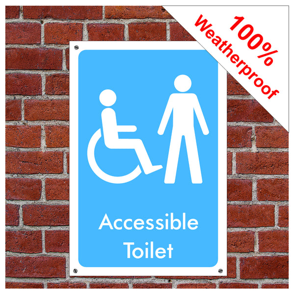 Accessible toilet symbol information sign or sticker