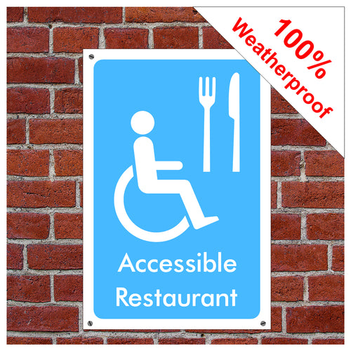 Accessible restaurant symbol information sign or sticker