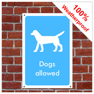 Dogs allowed symbol information sign or sticker
