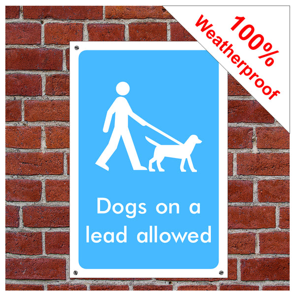 Dogs on lead allowed symbol information sign or sticker