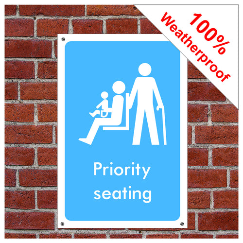 Priority seating symbol information sign or sticker