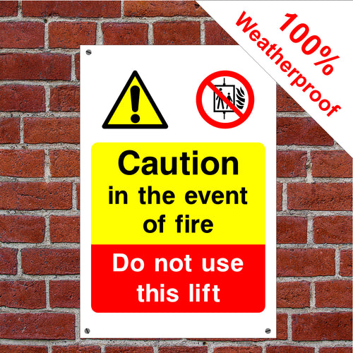 Event of fire do not use lifts elevator, escalator lift sign