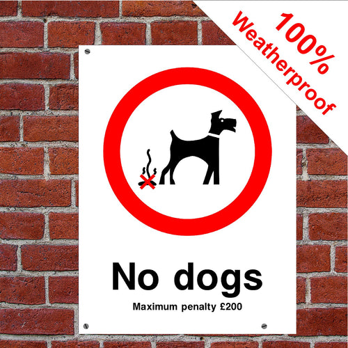 No dogs £200 penalty sign or sticker sign or sticker PAR06 do poo dog mess