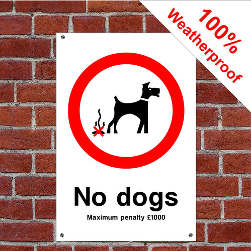 No dogs £1000 penalty sign or sticker sign or sticker PAR08 dog poo mess