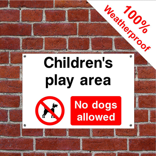 Children's play area no dogs allowed sign or sticker dog shit dog poo signs