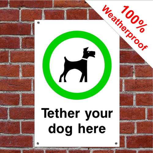 Tether your dog here sign or sticker Parks & Play Areas