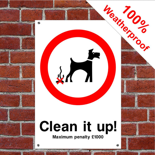 Clean it up! Dog fouling £1000 penalty sign or sticker PAR12 dog poo dog mess signs