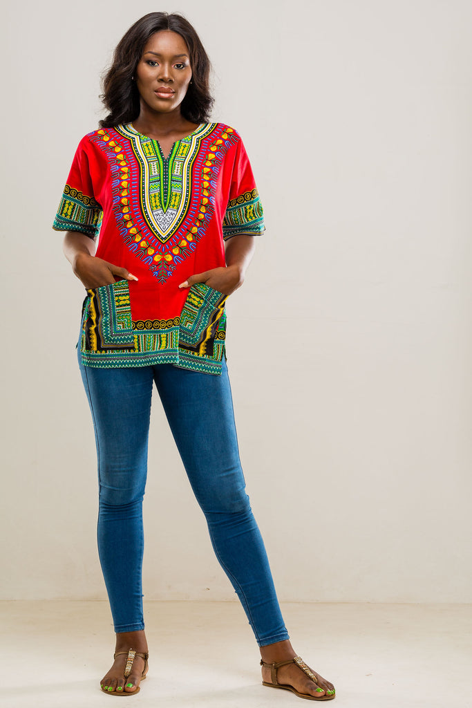 Red dashiki (unisex)