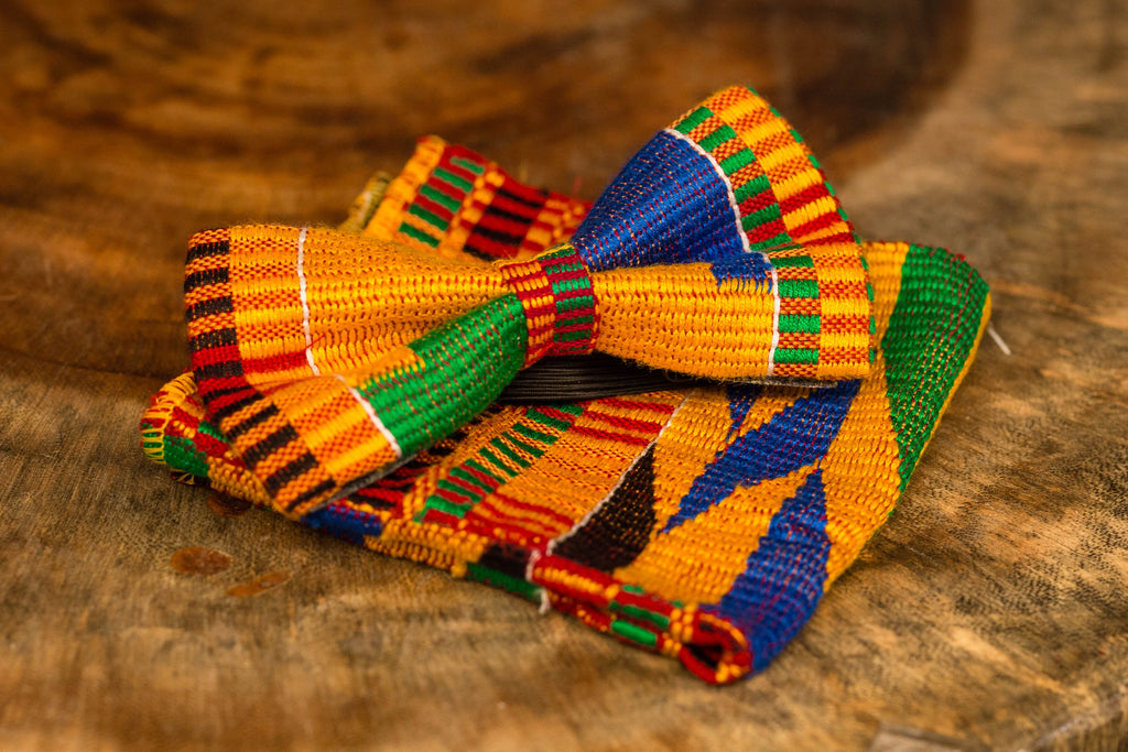 Kente Bow Tie With Pocket Square (Traditional)