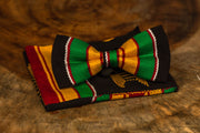 Kente bow tie with pocket square (Black)