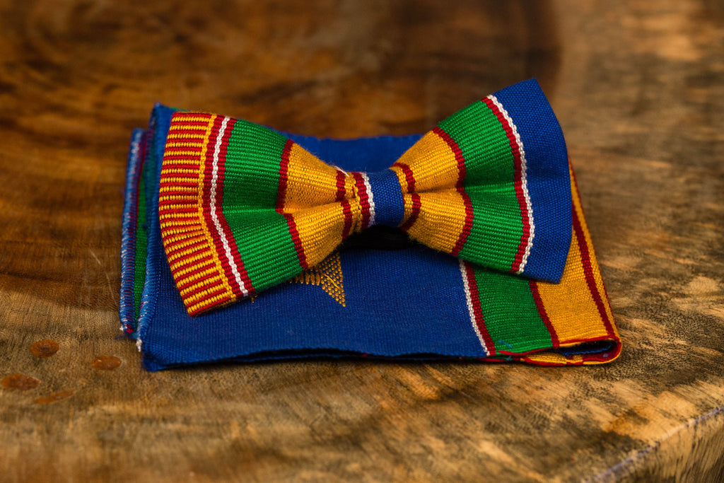 kente bow tie with pocket square (blue)