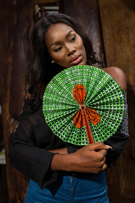 African cloth hand fan