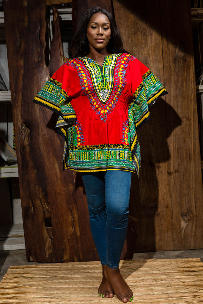 Red dashiki dress