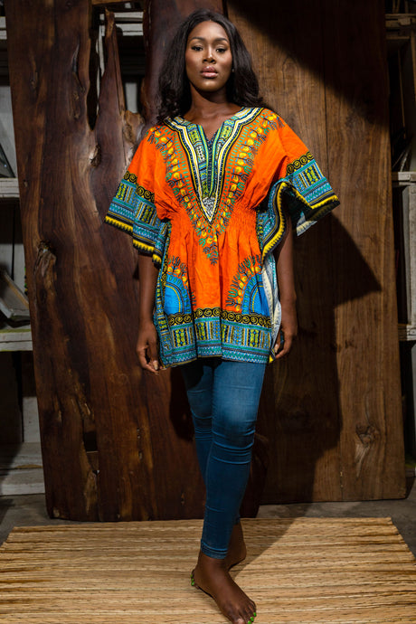 orange dashiki dress