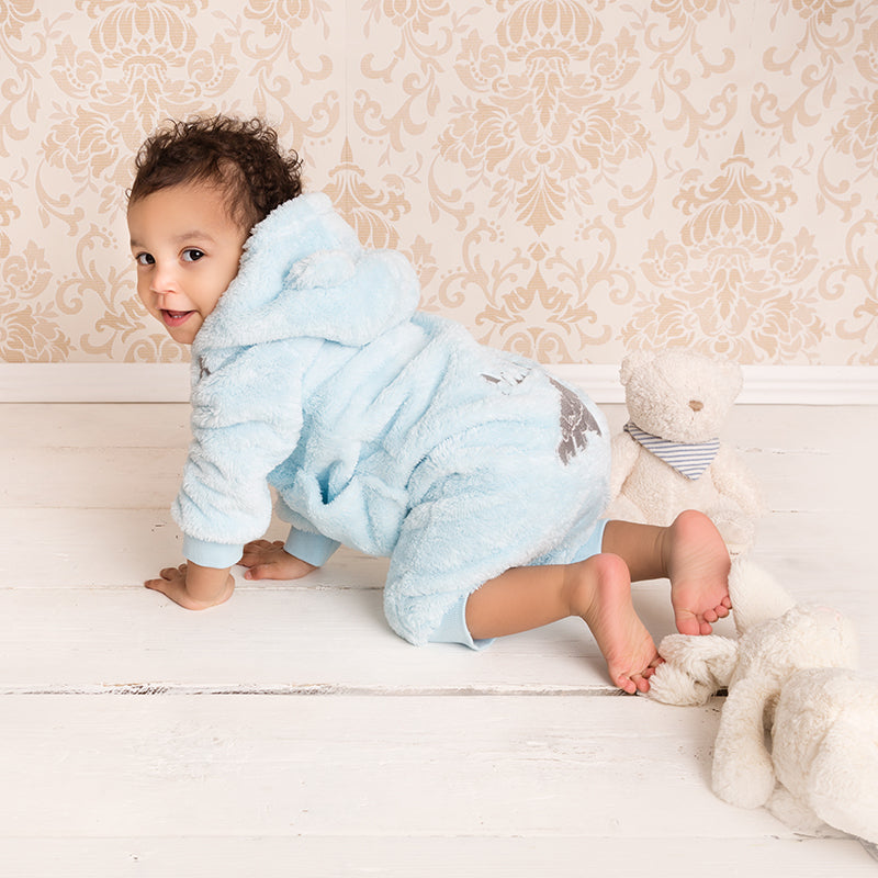 dff4f3cdaced Blue Fleece Romper - Personalised Baby Products - Beyond Cute ...