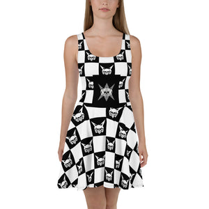 Vagabond 3 Skulls Checker Skater Dress