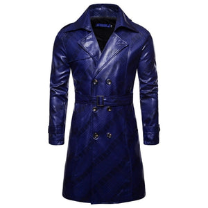 Winter Men Leather Trench Coat Double Breasted