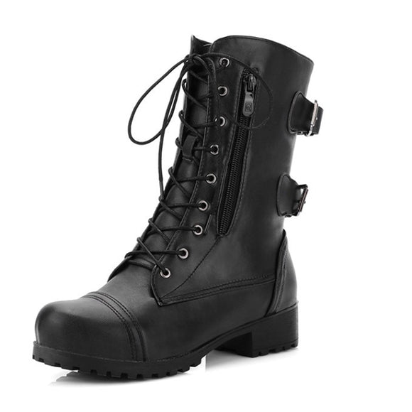 Black Coffee Lace Up Gothic Boots Plus