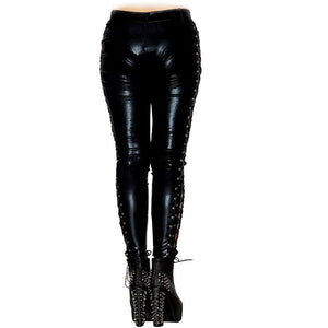 Women Wetlook Long Pants Laced  latex leggings