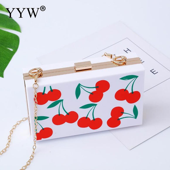 PVC Hard-Surface Clutch Bag Gothic Chain Sling Shoulder Bag