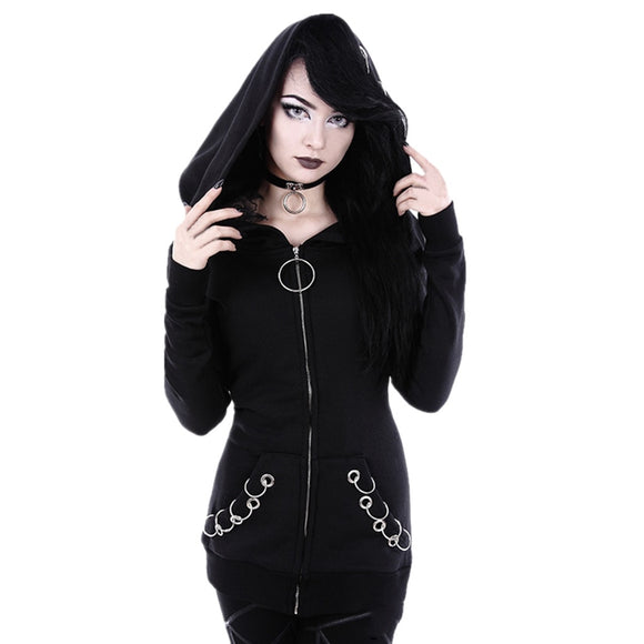 Women Loose Gothic Punk Long Sleeve Hooded Black Cardigan