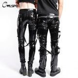 Fashion PU Skinny Trousers For Women Punk Rock Female Leather Pants Streetwear Autumn Patchwork