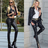 High Waist Stretch  Leather Pants