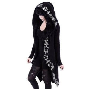 Women Simple Moon Print Hooded Cardigan