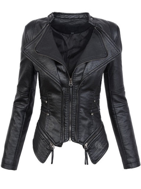 Gothic Faux Leather Jacket Women