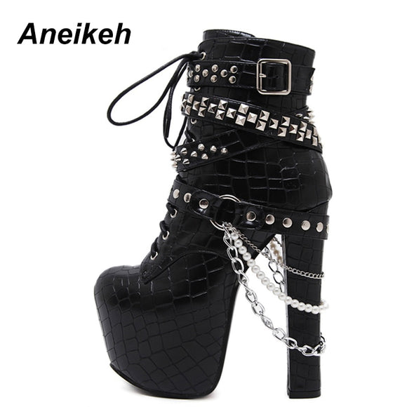 High Heels Platform Ankle Boots with Chains