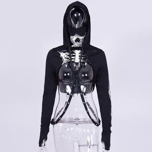 Skull print skeleton hoodies long sleeve t-shirt Turtleneck