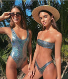 Women's one-piece swimsuit sexy gathered shiny one-piece swimsuit nightclub bikini beach suit