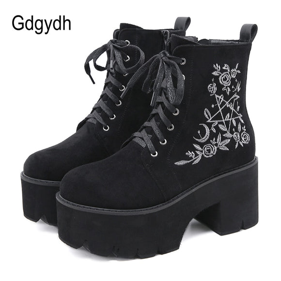 Flower Pattern Platform Boots Chunky Punk Suede Leather