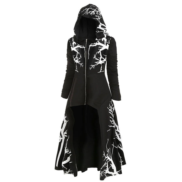 Women Hooded Dress Tree Print High Low Coat