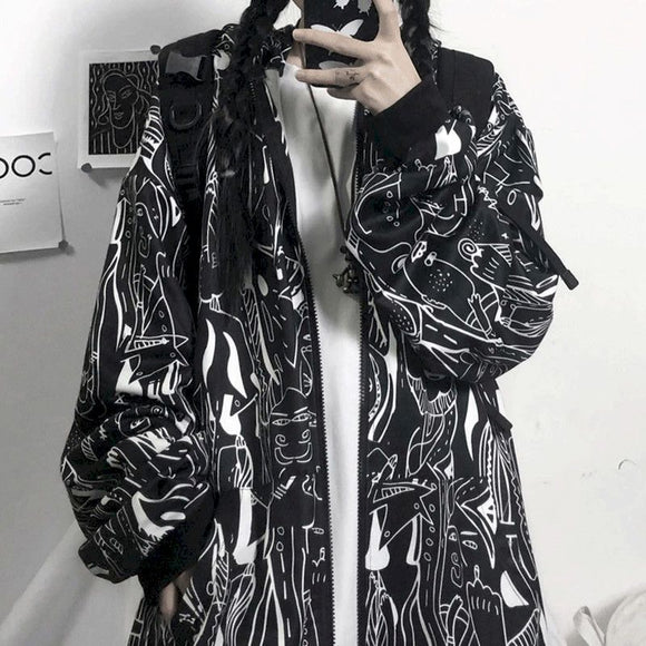 Printed hoodies sweatshirt Korean Gothic Oversized for women
