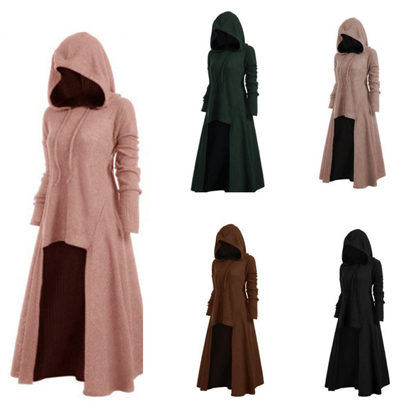 Gothic Women Hooded Long Victorian Trench Coat