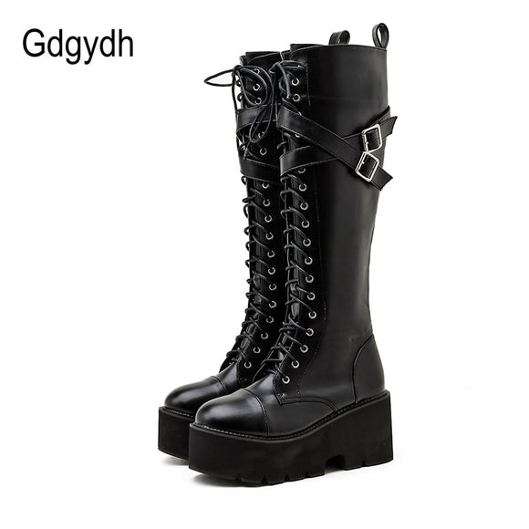 Women Boots Cross Strap Knee High Platform