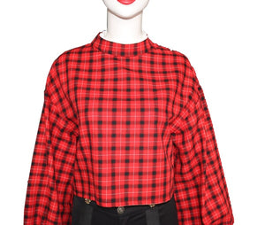 Red Black Plaid Splice Shirt And Shorts (Separately or as a Set, Prices Vary)