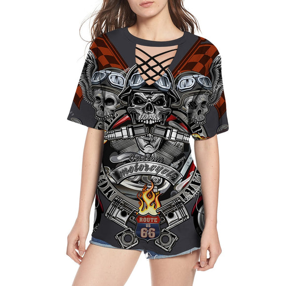 Skull Head Print T-shirt Women's V-neck