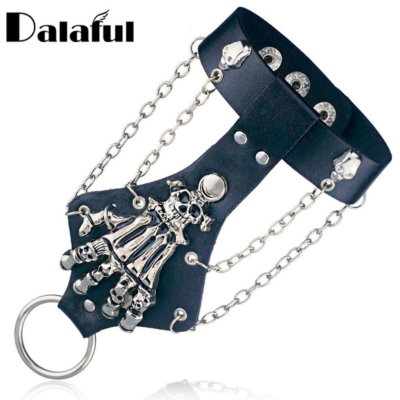 Unisex Cool Punk Rock Gothic Skeleton Skull Hand Glove Chain