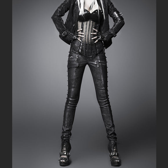 Punk Rave Punk Style Fashion Wild Rock and Roll Skinny Women Leather Pants