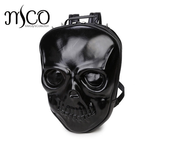 3D Skull Grimace Embossing Purse Satchel Backpack