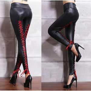 Women Sexy Lace Bandages leather pants.