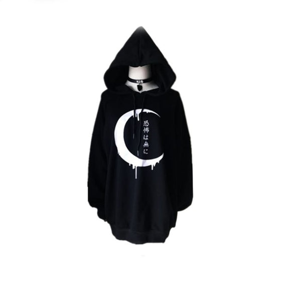 Gothic Women Hoodies Japanese Moon Print Pullover