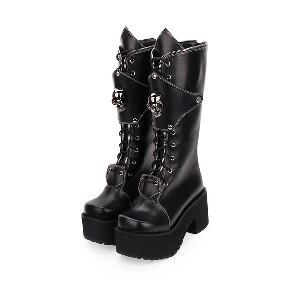 Angelic imprint Knee High Boots with Buckle Straps Thick Platform