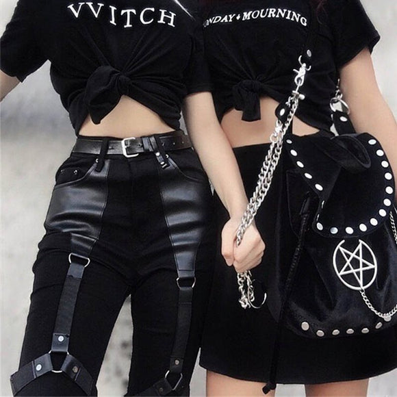 Cargo Pants Women Punk Rock PU Leather Patchwork