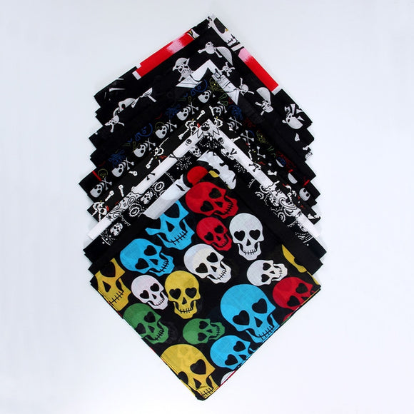 100% Cotton Skull Bandana Handkerchief