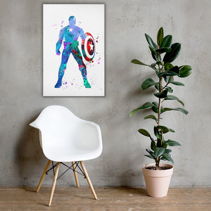 Captain America Watercolor Drop Canvas Wall Art - - The IronSuit